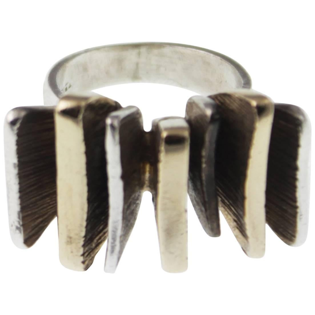 Mid-Century Modern Silver and Gold Ring