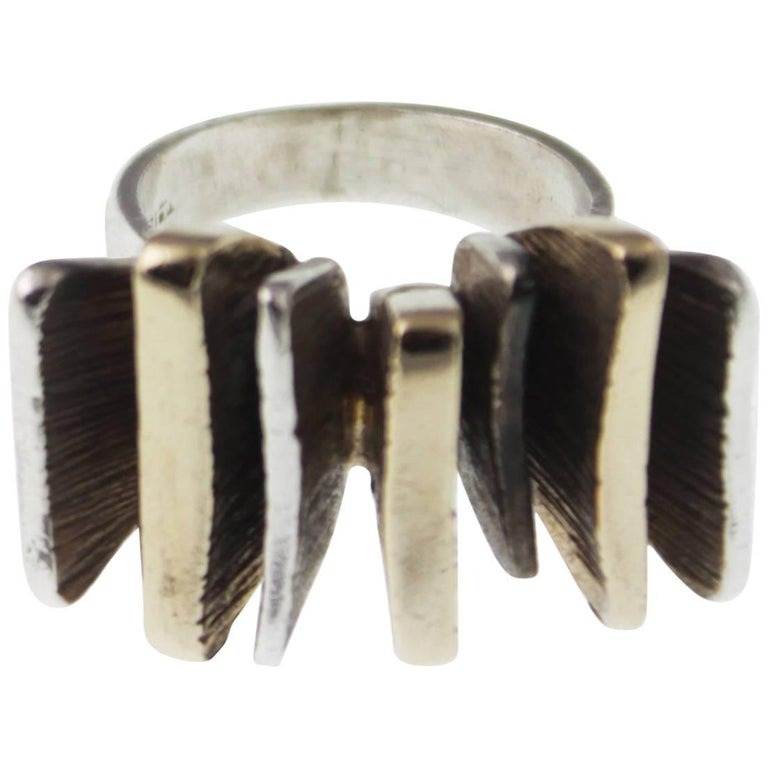 Mid-Century Modern Silver and Gold Ring For Sale