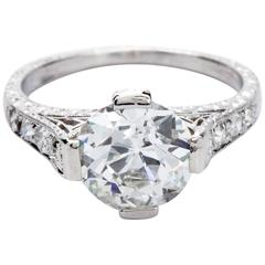 2.62 Carat GIA Certified Old European Antique Diamond Platinum Engagement Ring