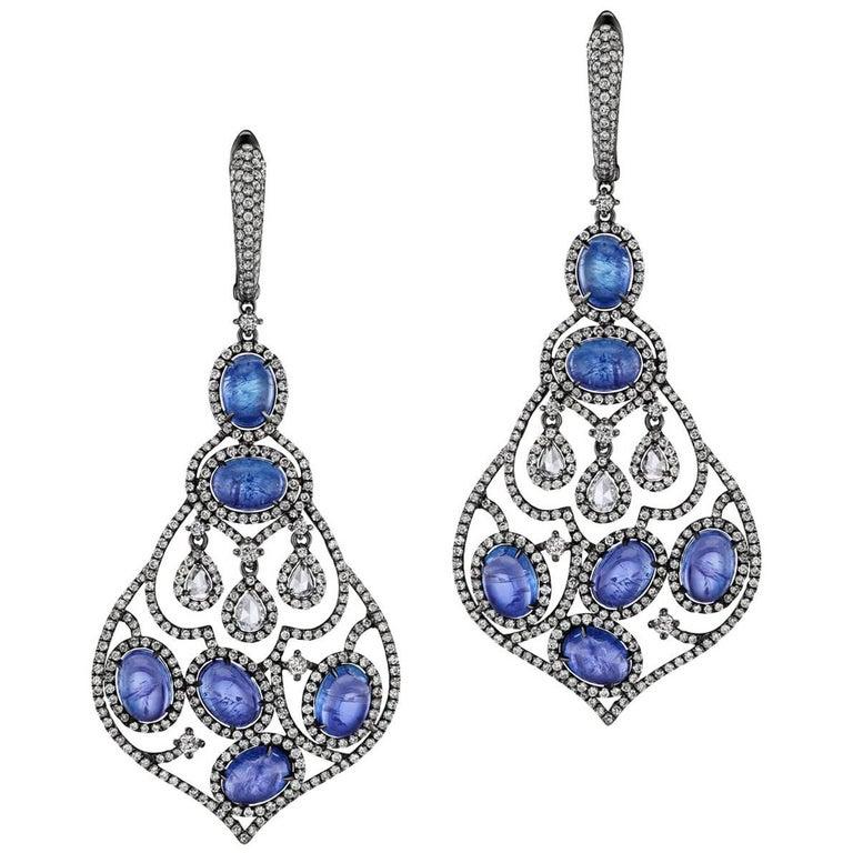 Oval Tanzanite Pear Shape Diamond Chandelier Earrings For Sale at ...