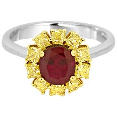 No Heat 1.60 Carat GIA Certified Ruby Diamond Two Color Gold Bridal CocktailRing