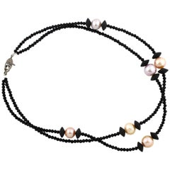 Gemjunky Double Strand South Sea Pearls & Black Spinels Necklace