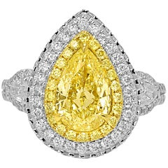 Certified Yellow Diamond Halo Two Color Gold Three Stone Bridal Cocoktail Ring
