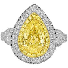 Certified Fancy Light Yellow Diamond Double Halo Two Color Gold Ring