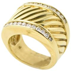 David Yurman Diamond Gold Cable Cigar Band Ring