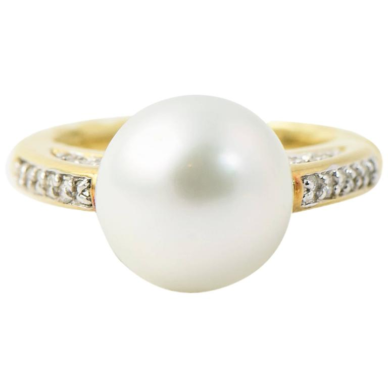 David Yurman Pearl Diamond Gold Ring