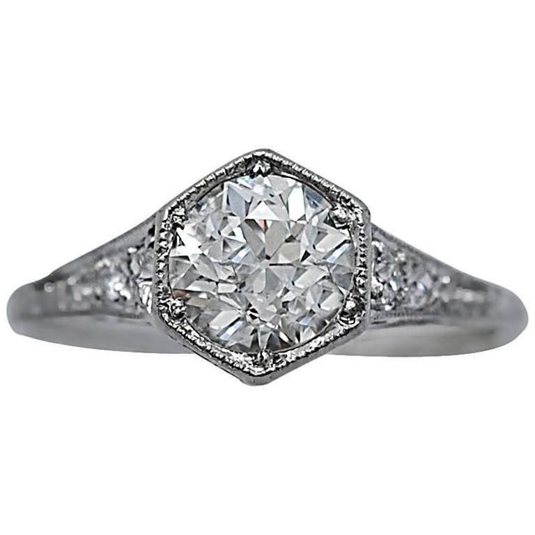 Art Deco .98 Carat GIA Certified Diamond Platinum Engagement Ring