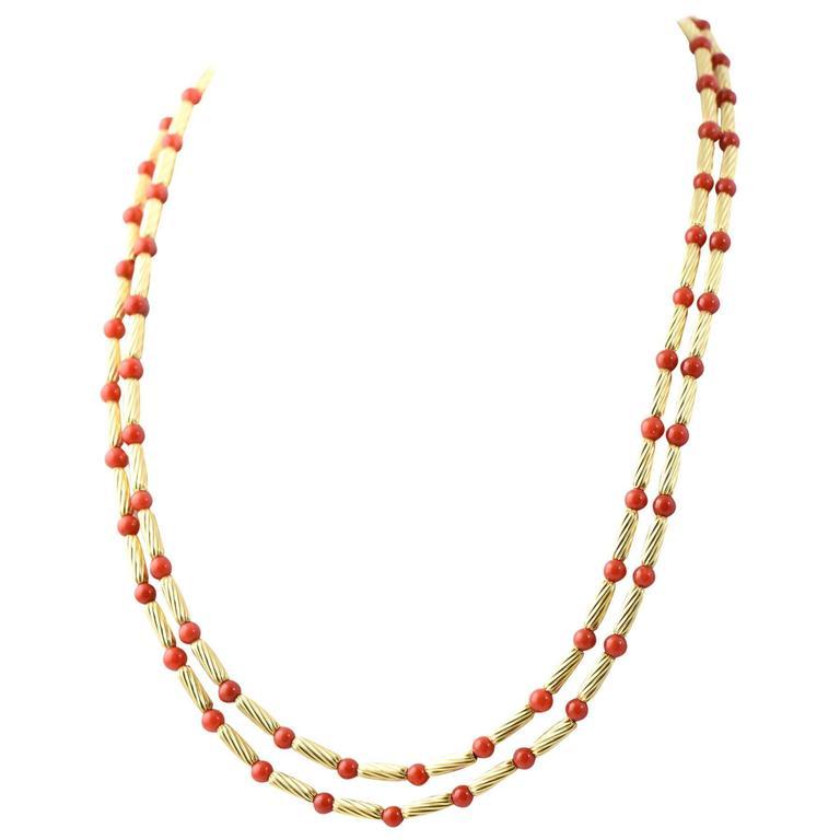 David Yurman Long Coral Gold Cable Necklace
