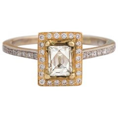 1990s Tycoon Cut Diamond White and Yellow Gold Ring