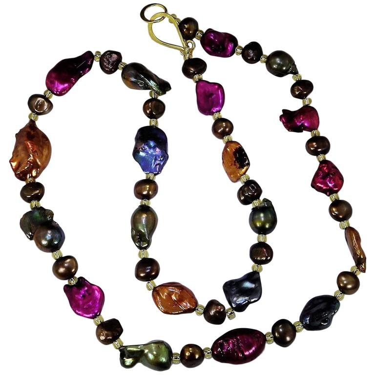 Jewel Tone Baroque Pearl Necklace