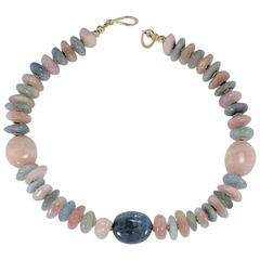Polished Nuggets of Pink and Blue Beryl Necklace