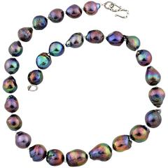Iridescent Fireball Cultured Rainbow Pearls Necklace