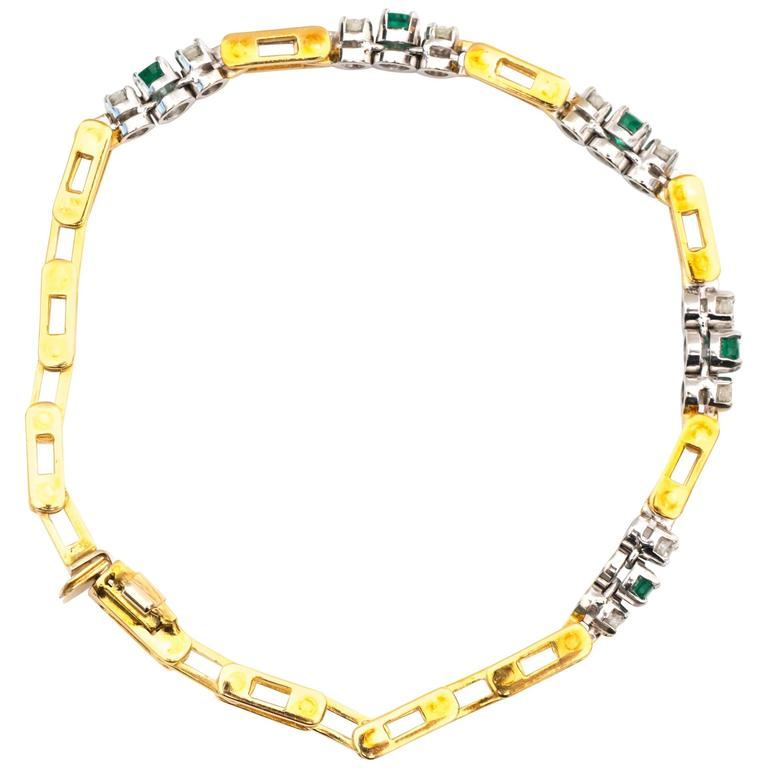1950s Emerald Diamond Yellow Gold Bracelet