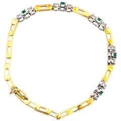 1950s Emerald Diamond Yellow Gold Bracelet