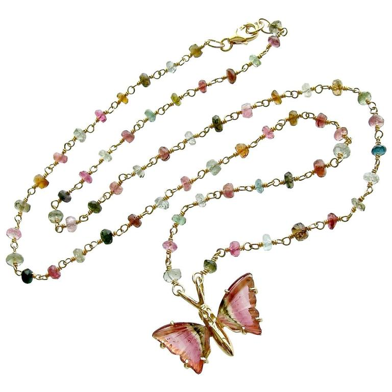 Pink Green Watermelon Tourmaline Gold Butterfly Necklace 1