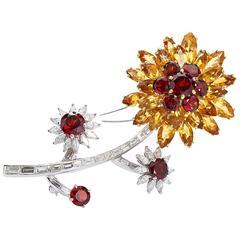Diamond Garnet and Orange Gems Flower Platinum Brooch