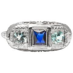 Art Deco Aquamarine Sapphire White Gold Ring