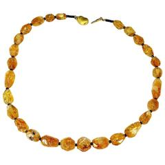 Faceted Chunk Citrine Necklace