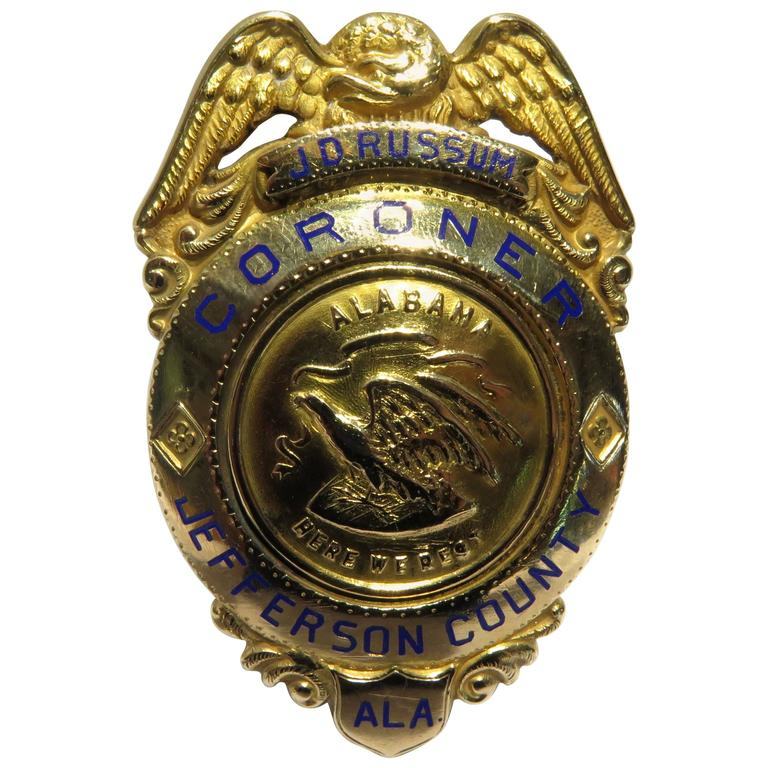 J.D. Russum Gold Coroner Jefferson County Al Badge 'Part of Alabama History'