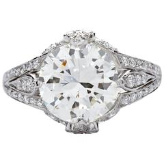 2.87 Carat J/VS2 GIA Certified Round Brilliant Cut Diamond Platinum Ring