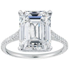 Marisa Perry Micro Pave Emerald Cut Diamond Platinum Engagement Ring