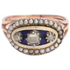 Georgian Blue Enamel and Table Cut Diamond Ring with Seed Pearl Border