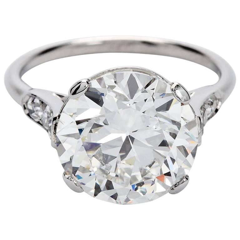 GIA Report Art Deco Cartier Round 4 Carat Diamond Engagement Ring For Sale at