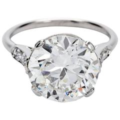 Art Deco Cartier GIA Report Round  4 Carat Diamond Engagement Ring