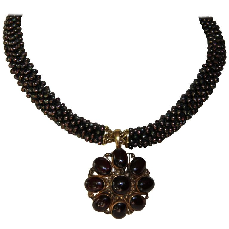 Marina J Black Pearl Rope 3D Necklace with Garnet Gold Brooch