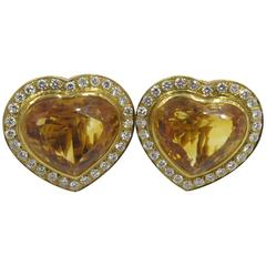 Pair of Citrine and Diamond Heart Shaped Earrings