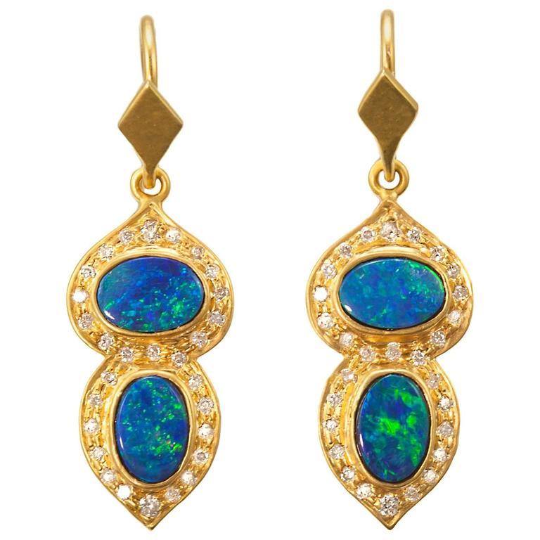 Lauren Harper Boulder Opal .32 Carat Diamond Gold Earrings