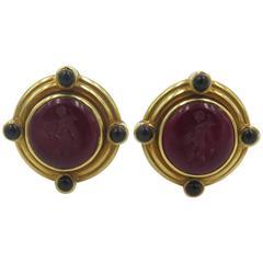 Elizabeth Locke Venetian Glass Pearl Onyx yellow gold Earrings