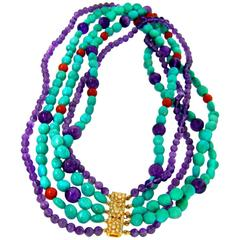Multi Strand Turquoise Amethyst Coral Bead Diamond Gold Necklace