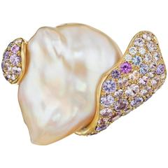 Naomi Sarna Chinese Pearl Diamond Sapphire Gold First Wave Brooch