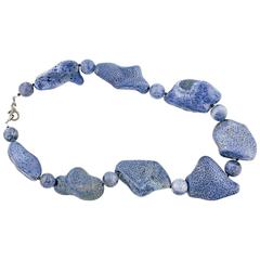 Natural Blue Coral Necklace