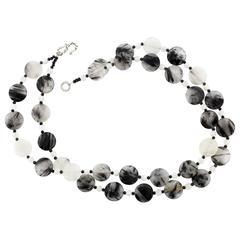 Rutilated Quartz and Moonstone Necklace