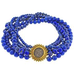Elizabeth Locke Lapis Bead and Ancient Coin Necklace