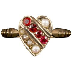 Antique Victorian Ruby Pearl Yellow Gold Heart Ring