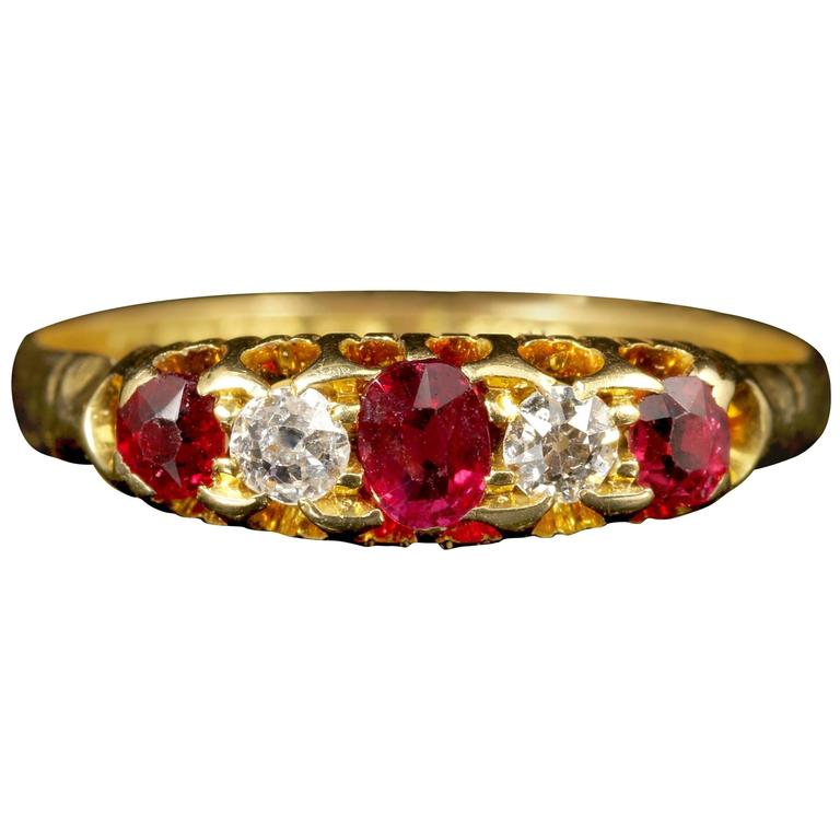 Antique Victorian Ruby Diamond Ring Gypsy Set 18 Carat Gold Ring