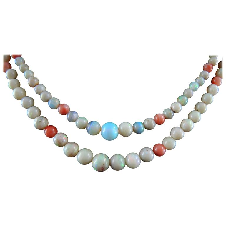 Art Deco Necklace with Opal and Coral, circa 1930