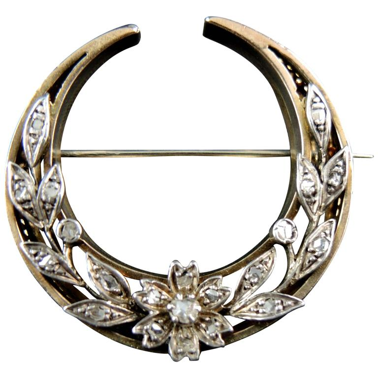Antique Crescent Moon Brooch with Diamonds, Gold and Silver, Napoléon III