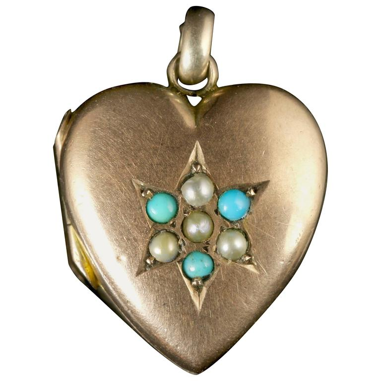 Antique Victorian Heart Locket Turquoise and Pearl, circa 1880