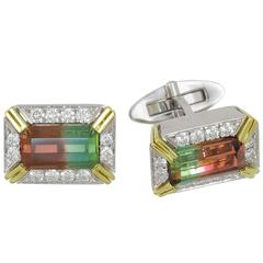 Frederic Sage 9.29 Carat Watermelon Tourmaline White and yellow gold Cufflinks
