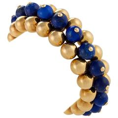 Marzo Paris Art Deco Lapis Lazuli and Gold Flexible Bracelet