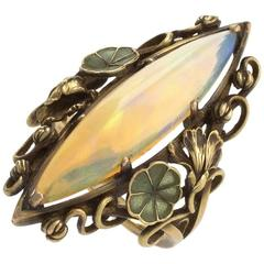French Art Nouveau Opal Plique-à-Jour Enamel and Gold Ring