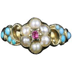 Antique GeorgianTurquoise Ruby Pearl Ring 18 Carat Gold