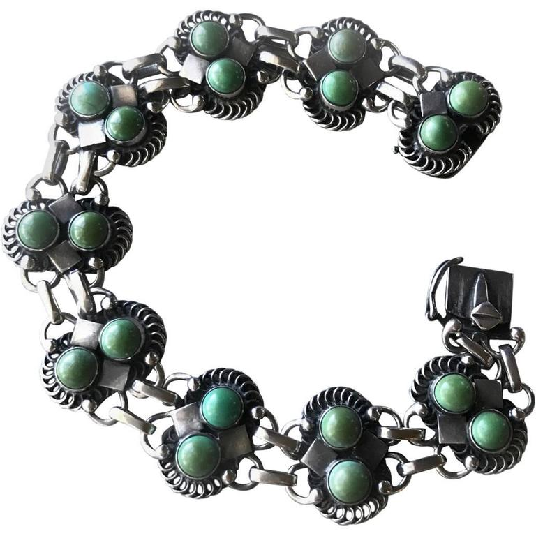 Georg Jensen Sterling Silver Bracelet No 8 with Turquoise Cabochon Stones