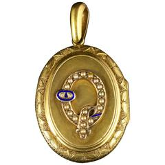 Antique Victorian Gold Locket Large Pearl and Enamel Buckle 15 Carat Gold