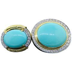 David Webb Turquoise Diamond Yellow Gold Convertible Earrings