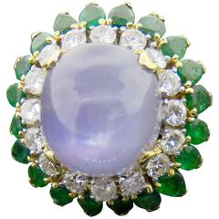 Large Star Sapphire, Emerald and Diamond Yellow Gold Ring